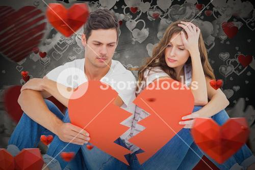 Composite image of young couple sitting on floor with broken heart shape paper
