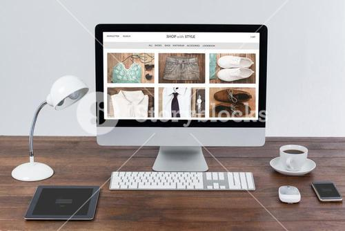 Composite image of shop with style homepage