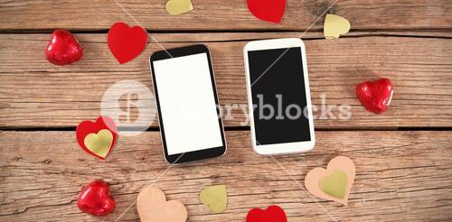 smartphones  & heart decorations