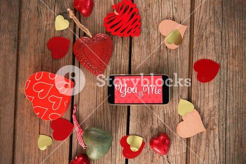 Web against smartphone and heart art craft