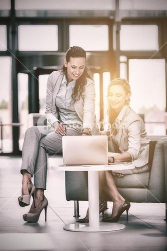 Businesswomen using laptop and having discussion