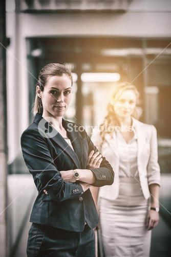Confidence businesswoman standing in office