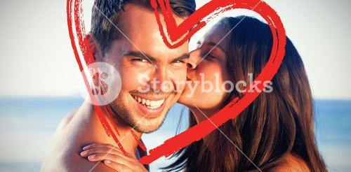 Composite image of attractive woman kissing her boyfriend on the cheek