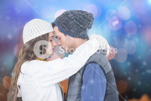 Composite image of couple embracing head to head