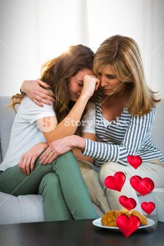 Composite image of sad family and floating love hearts 3d