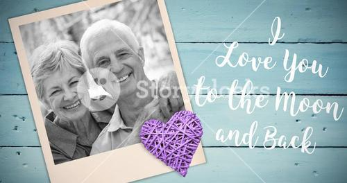Composite image of happy old couple smiling