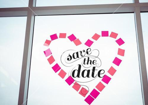 Save the date graphic on window