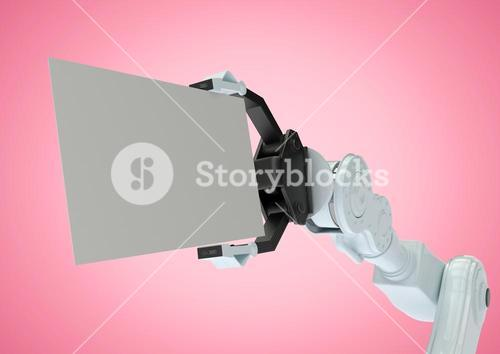 Robot holding blank placard against pink background