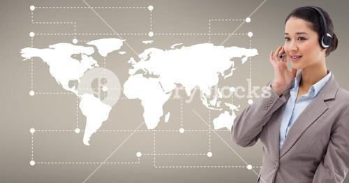 Customer service executive against world map in background