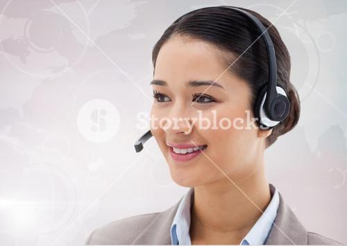 Smiling customer service woman with headphone