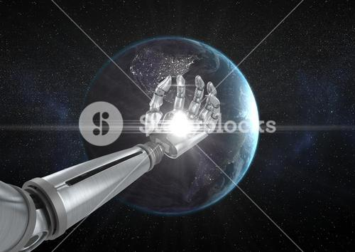 Robot hand with white light in front of globe