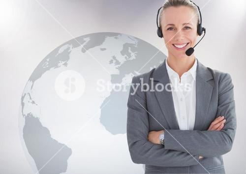 Portrait of customer service woman with headphone standing with arms crossed against world map backg