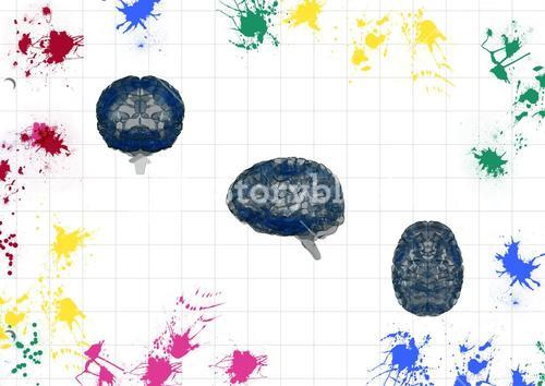 Colored water color surrounded by drawn brain