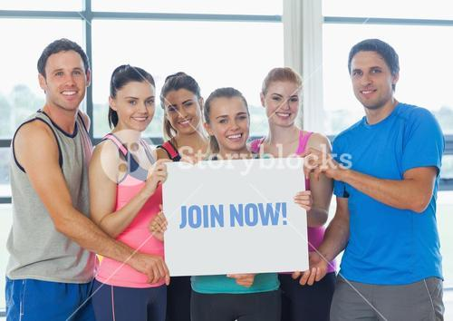 Portrait of fit peoples showing join now card