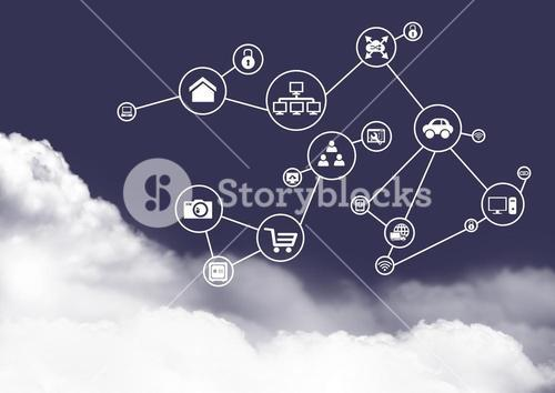 Connecting icons on clouds