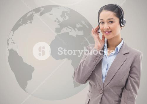 Customer service woman in headset against globe in the background