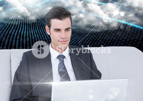 Businessman using laptop against binary codes interface