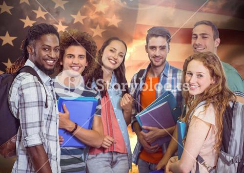 Friends standing together against american flag in background