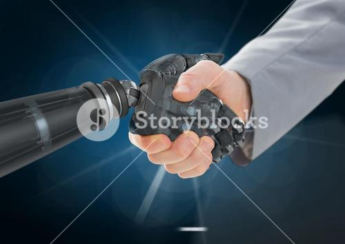 Businessman shaking hands with robot against dark blue background and white light