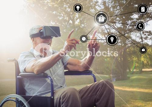 Disabled senior man touching interface screen while using virtual reality headset