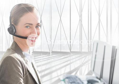 Smiling customer service woman working in office
