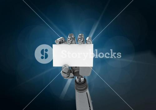 Robot hand holding placard against blue background