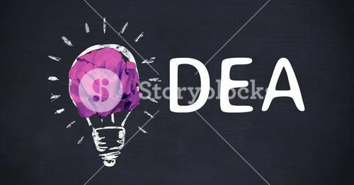 Hand drawn graphic of idea concept on black background