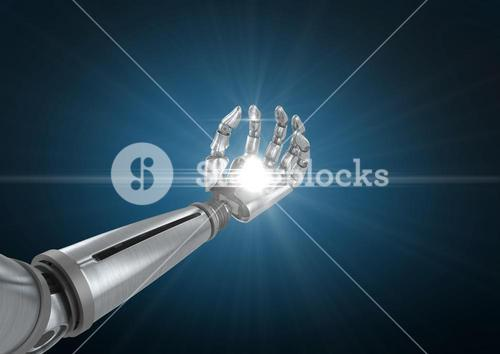 Robotic hand with illuminated light against blue background