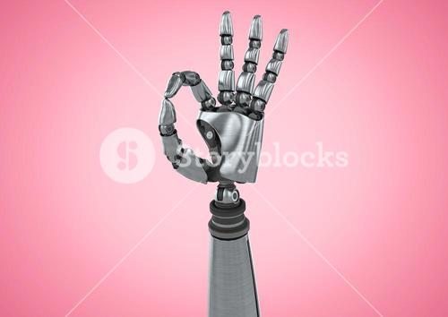 Robot hand showing ok sign against pink background