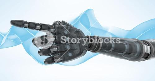 Robot hand with blue and white background
