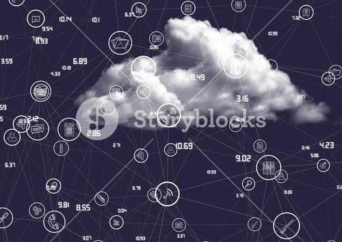 Cloud with connecting icons against blue background