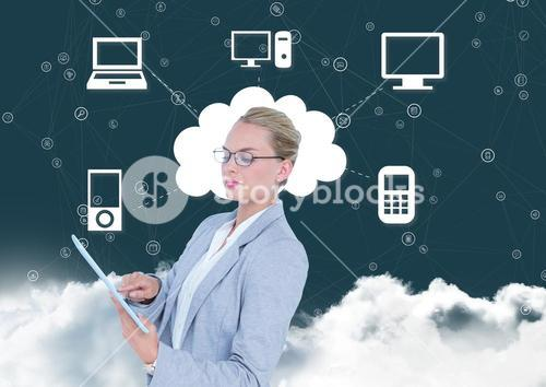 Businesswoman using digital tablet with networking icons in background