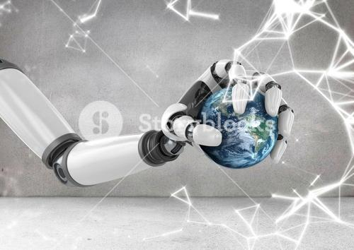 Robot hand holding globe with sparks