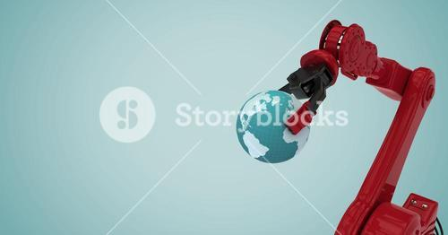 Red robot claw holding globe against light blue background