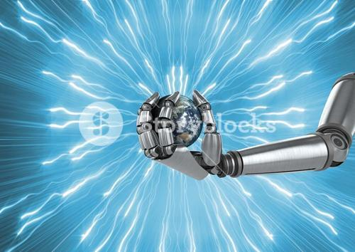 Robot holding globe with sparks against blue background