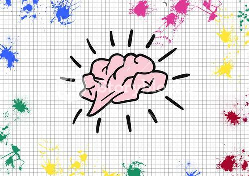 Brain shape on paper with color splashes