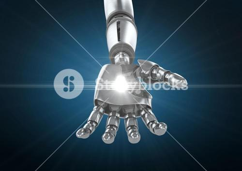 Robot hand with white light  against blue background