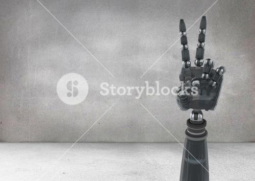 Robot hand showing peace sign