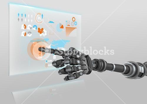 Robot hand pointing at futuristic interface