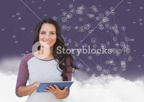 Portrait of a woman holding digital tablet with networking icons and cloud in background