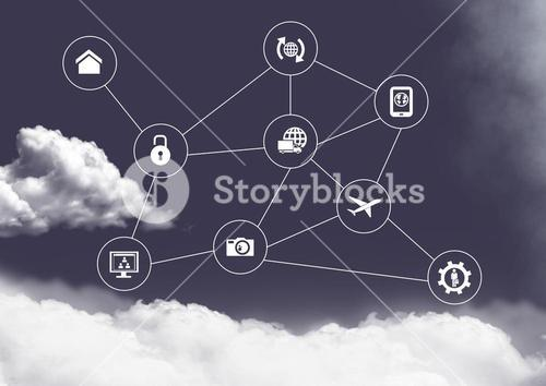 Connecting icons with clouds in sky