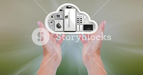 Conceptual image of hand holding a cloud shape with home appliance