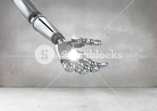 Robot hand with white light