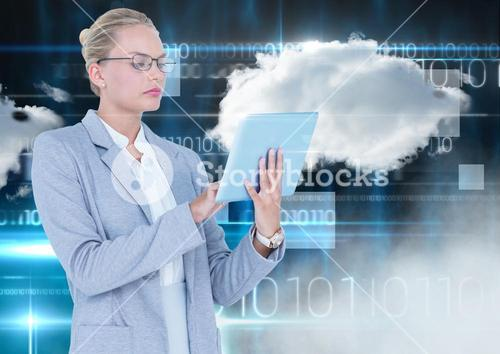 Businesswoman using digital tablet with cloud and binary codes in background