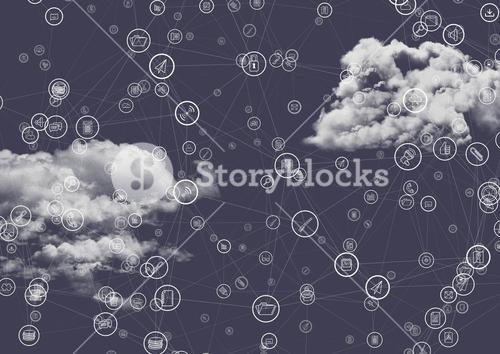 Connecting icons with clouds in background