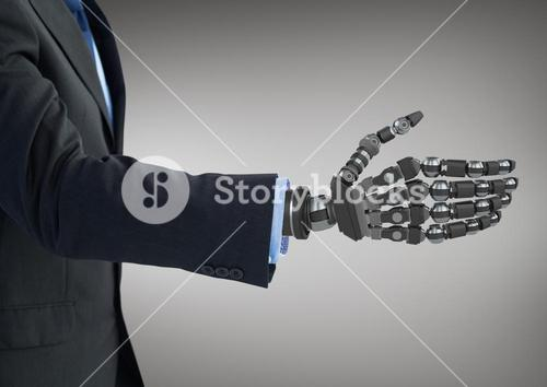 Business man with robot hand against grey background