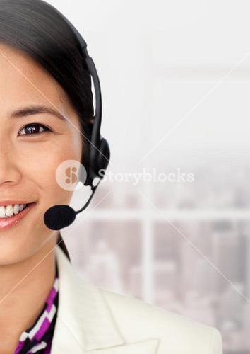 Close-up customer service woman in headset