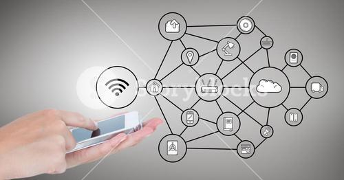 Hands using mobile phone and network connecting icons against grey background