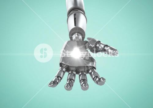 Robot hand with white light against turquoise background