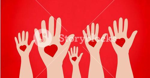 Conceptual image of charity against red background